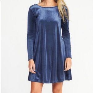 Old Navy velvet knit blue velvet shift dress
